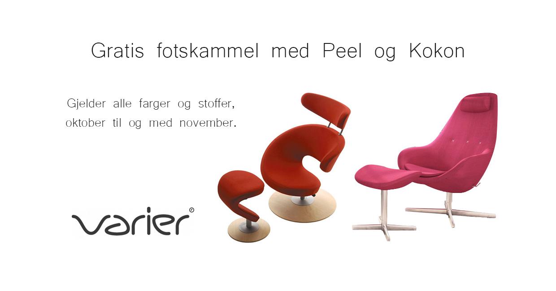 Kampanje for Varier. Rød og Rosa stol av typen Peel og Kokon.